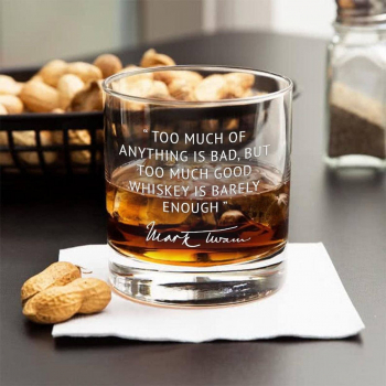 Mark Twain Too Much Whiskey Quote Engraved Rocks Glasses (set of 2)