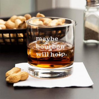 'maybe bourbon will help.' Engraved Rocks Glasses (set of 2)